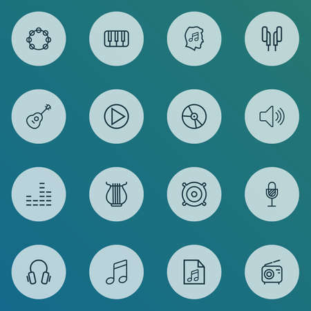 Music icons line style set with keys, stringed, equalizer and other strings