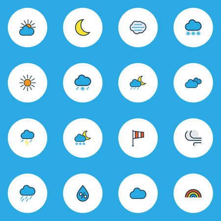 Air icons colored line set with lunar, cloudy day, snowing and other thunderstroke   elements. Isolated vector illustration air icons. Illusztráció
