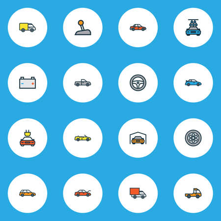 Car icons colored line set with truck, van, bonnet and other washing  elements. Isolated vector illustration car icons. Illustration