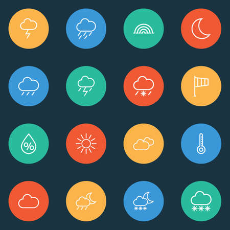 Air icons line style set with snowfall, moon, snow and other drop   elements. Isolated vector illustration air icons.