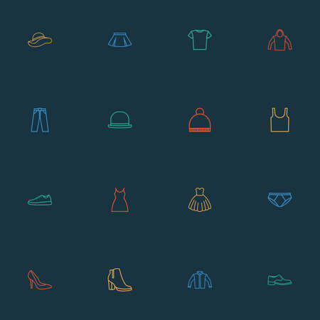 Clothes icons line style set with boots, underpants, dress and other shoe  elements. Isolated vector illustration clothes icons. Ilustração