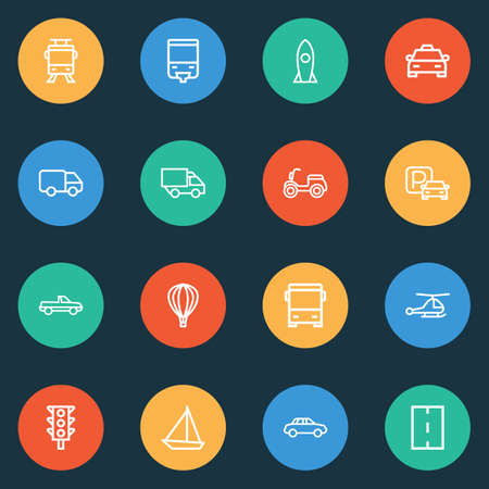 Shipment icons line style set with bus, helicopter, road and other bus elements. Isolated vector illustration shipment icons. Illustration