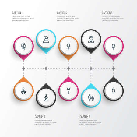 Human icons line style set with jogging, couple, female and other user