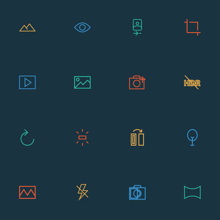 Image icons line style set with flash off, nature, wb sunny and other filter   elements. Isolated vector illustration image icons.
