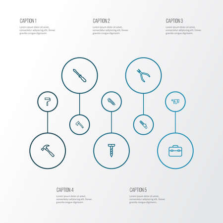 Repair icons line style set with saw, turn-screw, repair and other toolkit  elements. Isolated vector illustration repair icons.