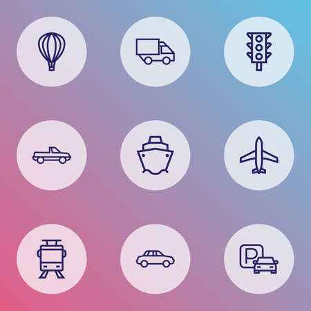 Transportation icons line style set with cabriolet, plane, tanker and other pickup elements isolated vector illustration transportation icons.