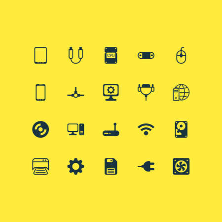 Hardware icons set with modem, plug, global connection and other settings   elements. Isolated vector illustration hardware icons. Illustration