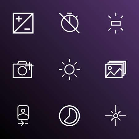 타이머, 모드, 사진 및 기타 플레어 요소없이 설정된 이미지 아이콘 라인 스타일. 격리 된 벡터 그림 이미지 아이콘입니다. 일러스트