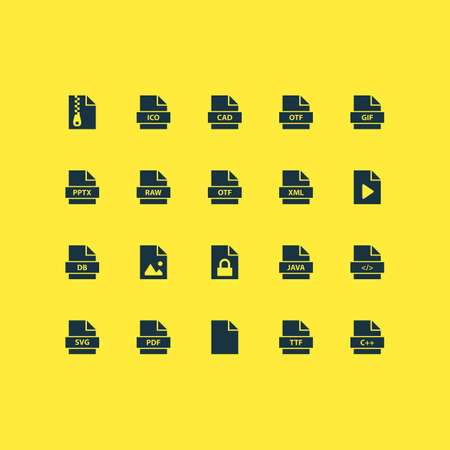 File icons set with pdf, archive, software and other script elements. Isolated vector illustration file icons.