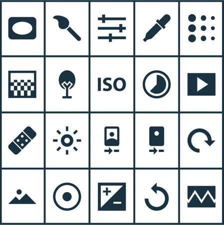 리로드, 슬라이드 쇼, 시간 경과 및 다른 웹 무지개 빛깔의 요소를 사용 하여 설정하는 사진 아이콘. 격리 된 벡터 그림 사진 아이콘.