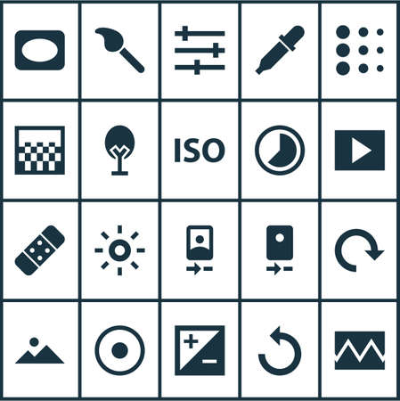 Photo icons set with reload, slideshow, time lapse and other web iridescent elements. Isolated vector illustration photo icons.