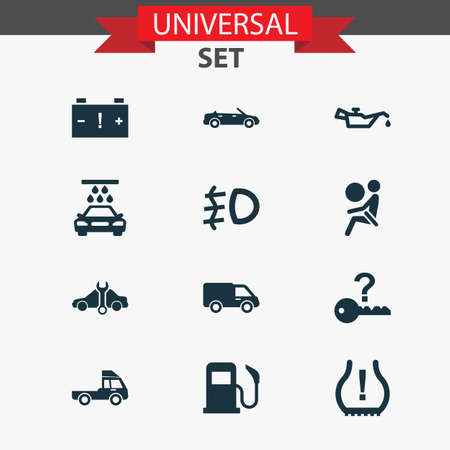 Car icons set with lorry, not key, truck and other van elements. Isolated vector illustration car icons. Illustration