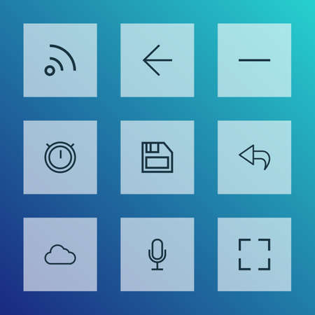User icons line style set with mike, minus, second meter and other feed  elements. Isolated vector illustration user icons. Illustration