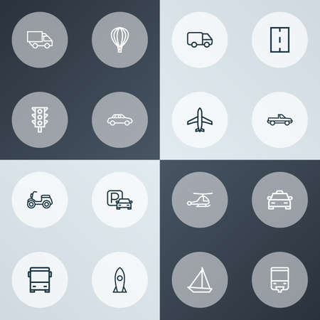 Shipment icons line style set with helicopter, tram, balloon and other tram  elements. Isolated vector illustration shipment icons. Illustration