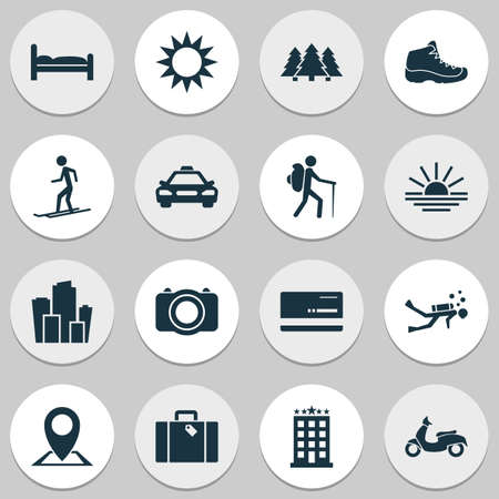 Journey icons set with taxi, hiking boot, diving and other camera  elements. Isolated vector illustration journey icons. Ilustração