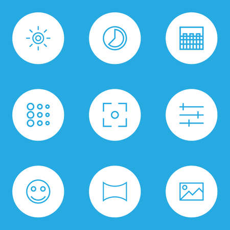 Image icons line style set with angle, picture, chessboard and other panorama  elements. Isolated vector illustration image icons.