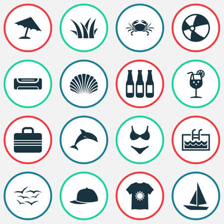 Season icons set with fresh juice, crab, t-shirt and other balloon