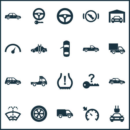 Auto icons set with tie, service, alert and other repairing  elements. Isolated vector illustration auto icons.