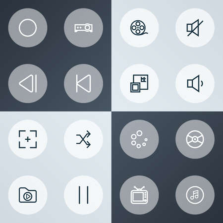 Multimedia icons line style set with film reel, slow backward, shuffle and other circle   elements. Isolated vector illustration multimedia icons.