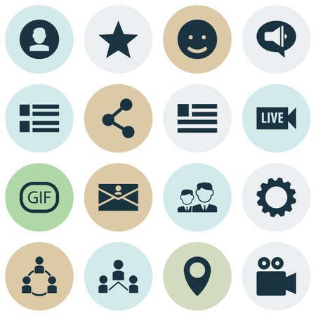 Social icons set with live video, friends, form and other publish
