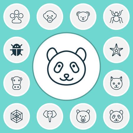Zoo icons set with panda, arachnid, monkey bear  elements. Isolated vector illustration zoo icons.