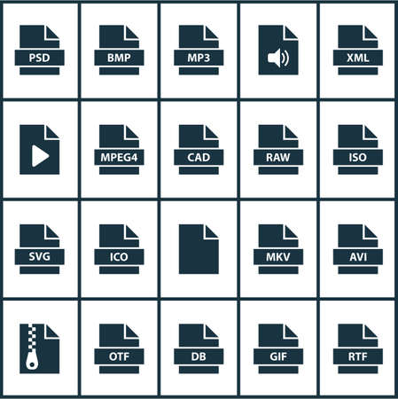 Types icons set with mpeg4, file, data and other svg  elements. Isolated vector illustration types icons.