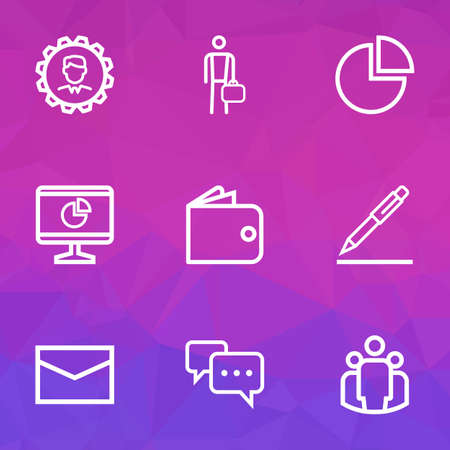 Job icons line style set with statistics, leader, billfold and other businessman