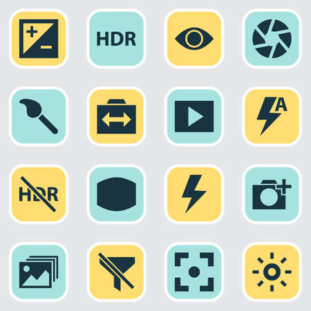 Photo icons set with add a photo, exposure, switch cam and other paintbrush