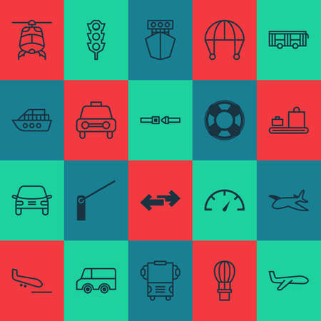 Shipping icons set with car vehicle, traffic lights, auto and other speed checker   elements. Isolated vector illustration shipping icons. Illusztráció