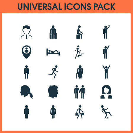 People icons set with doing selfie, pupil, sitting and other ladder  elements. Isolated vector illustration people icons.