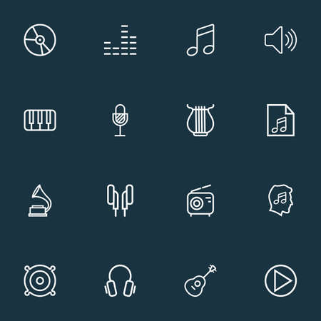 Multimedia icons line style set with headphones, equalizer, keys and other earphones  elements. Isolated vector illustration multimedia icons.