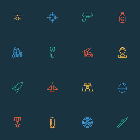 Battle icons line style set with fighter, sniper, artillery and other aircraft   elements. Isolated vector illustration battle icons.
