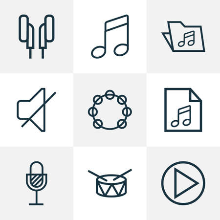 Audio icons line style set with tambourine, drum, mute and other barrel  elements. Isolated vector illustration audio icons. Illustration
