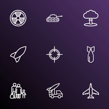 Battle icons line style set with fighter, refugee, tank and other  elements. Isolated vector illustration battle icons.