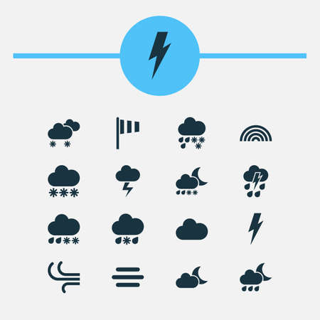 Climate icons set with snow, thundershower, sleet and other thunderstorm   elements. Isolated vector illustration climate icons.