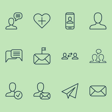 Social icons set with member, chatting, dialogue and other confirm  elements. Isolated vector illustration social icons. Ilustrace