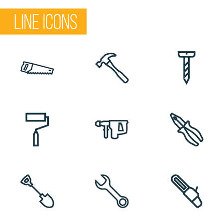 Hand tools icons line style set vector illustration