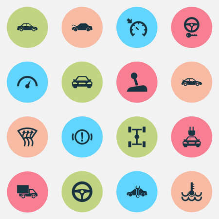 Auto icons set with cruise control on, gear lever, electric car and other repairing   elements. Isolated  illustration auto icons.