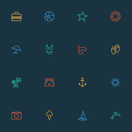 Sun icons line style set with camera, flip flops, ball and other animal elements. Isolated vector illustration sun icons.