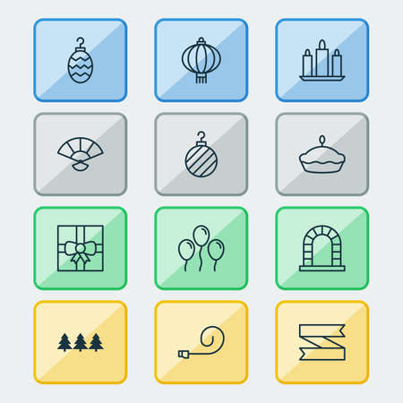 New icons set with tart, tree ball, ribbon banner and other holiday ornament elements. Isolated vector illustration new icons.