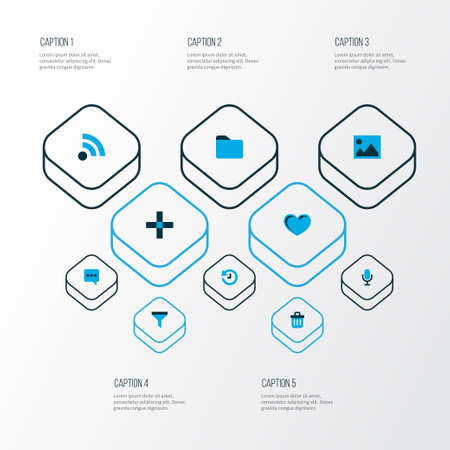 User icons colored set with feed, filter, folder and other elements. Isolated vector illustration user icons. Illustration
