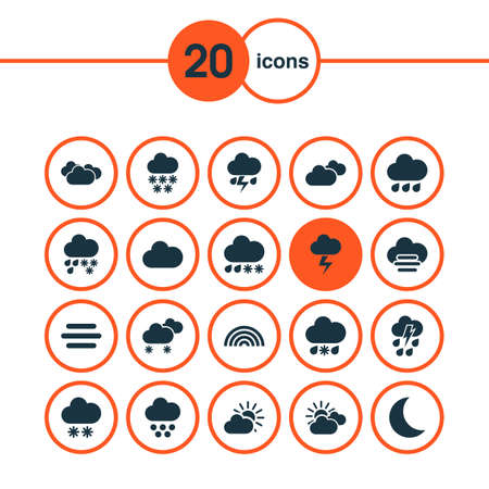 Climate icons set with drizzle, cloud, rain and other gray  elements. Isolated  illustration climate icons.