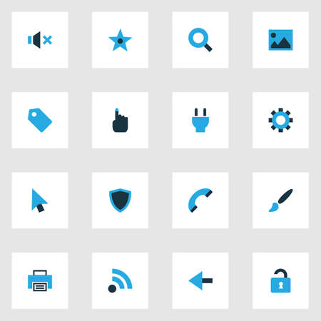 Interface icons colored set with hand, brush, favorite options  elements. Isolated vector illustration interface icons.