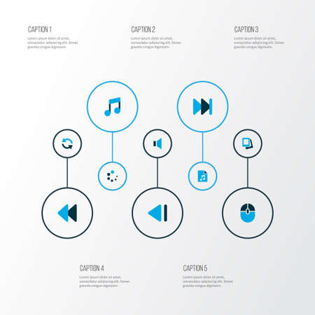 Media icons colored set with rewind, sync, music and other forward elements isolated vector illustration media icons.