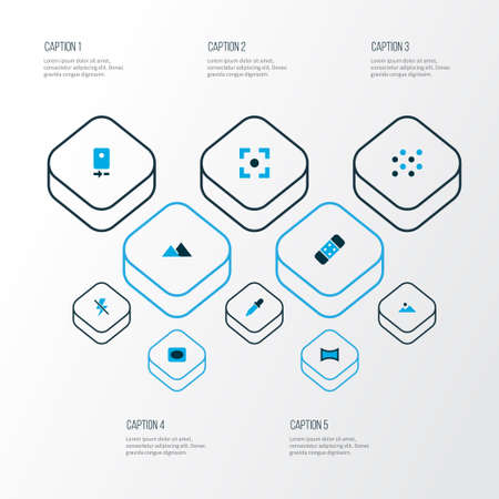 Picture icons colored set with pattern, eyedropper, vignette and other lightning  elements. Isolated vector illustration picture icons.  イラスト・ベクター素材