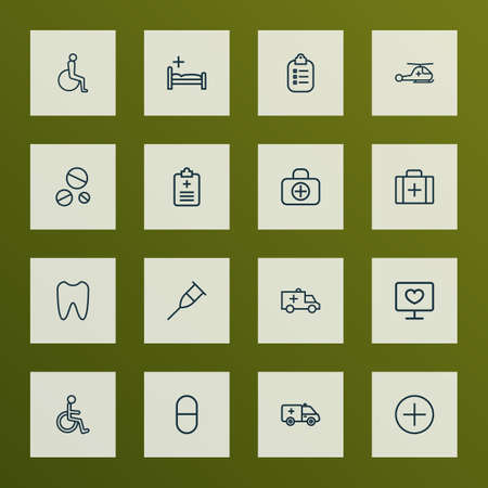 Drug icons line style set with helicopter, handicapped man, clinic mark elements. Isolated vector illustration drug icons.