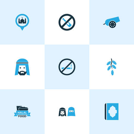Religion icons colored set with muslim, mosque, dates and other koran elements. Isolated illustration religion icons. Archivio Fotografico