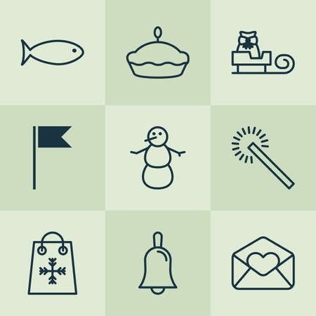 Holiday icons set with snowman, firework, tart and other fishing  elements. Isolated vector illustration holiday icons. Illustration