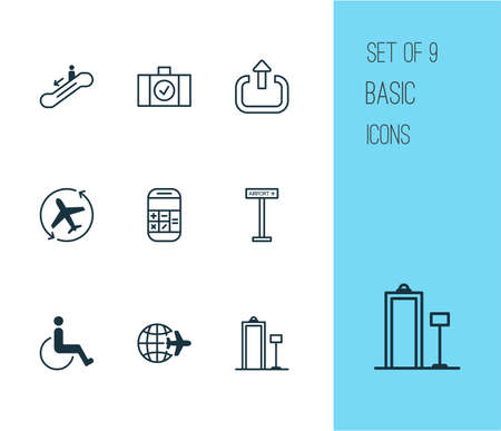 Airport icons set with logout, airplane direction, checked bag and other security scanner   elements. Isolated vector illustration airport icons.