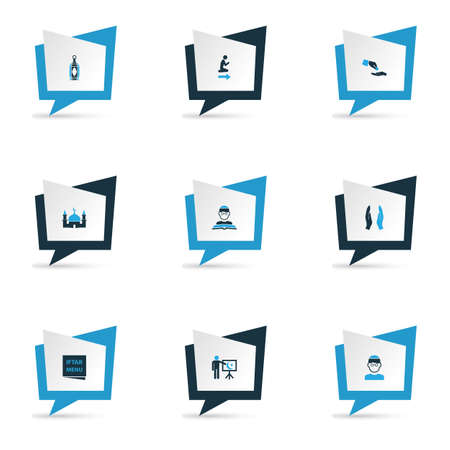 Ramadan icons colored set with menu, gods house, financial assistance and other namaz place  elements. Isolated vector illustration ramadan icons. Vettoriali